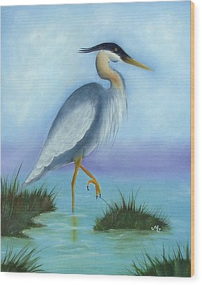 Patience Blue Heron Wood Print by Mary Gaines
