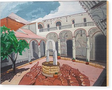Wood Print featuring the painting Patio Colonial by Lazaro Hurtado