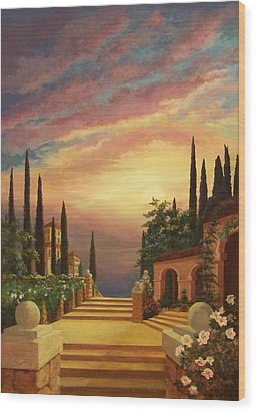 Wood Print featuring the digital art Patio Il Tramonto Or Patio At Sunset by Evie Cook