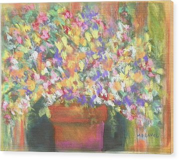 Wood Print featuring the photograph patio plants I by Shirley Moravec