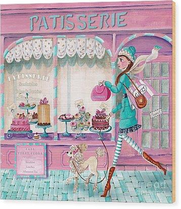 Patisserie Wood Print by Caroline Bonne-Muller