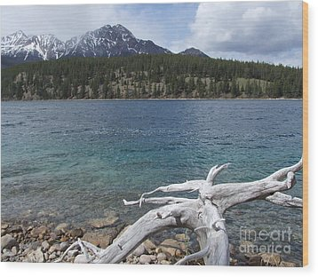 Wood Print featuring the photograph Patricia Lake - Jasper by Phil Banks