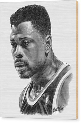 Patrick Ewing Wood Print by Harry West