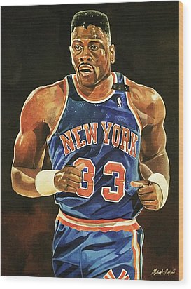 Patrick Ewing New York Knicks Wood Print by Michael  Pattison