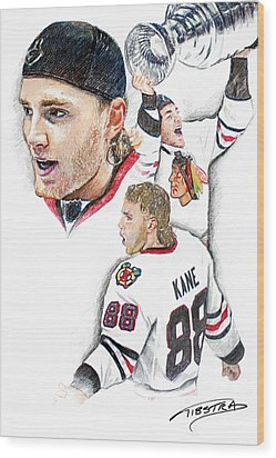 Patrick Kane - The Moment Wood Print by Jerry Tibstra