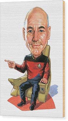 Patrick Stewart As Jean-luc Picard Wood Print by Art