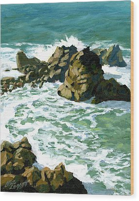 Patricks Point Rocks Wood Print by Alice Leggett