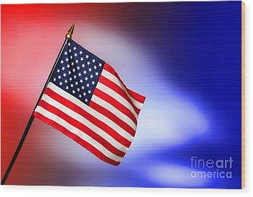 Patriotic American Flag Wood Print by Olivier Le Queinec