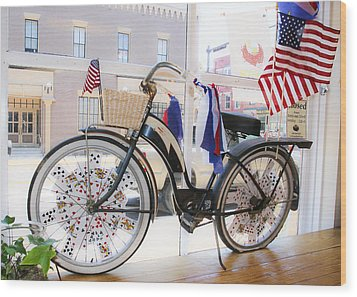 Patriotic Bicycle Wood Print by Cindy Archbell