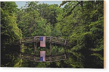 Patriotic Bridge Wood Print