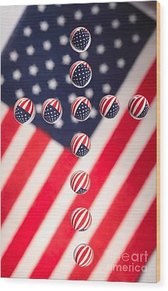 Patriotic Cross Wood Print by Pattie Calfy