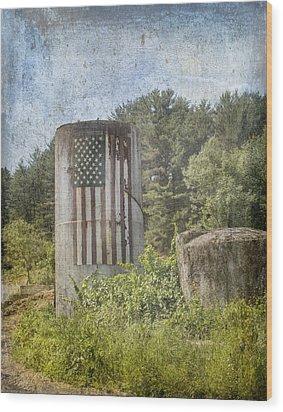 Patriotic Farm Silo Wood Print