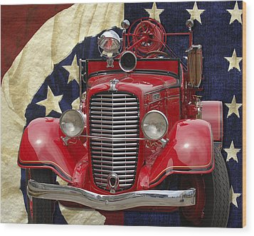 Wood Print featuring the photograph Patriotic Fire Truck by William Havle