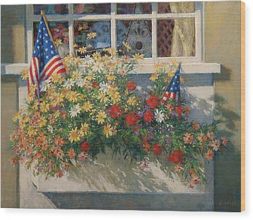 Patriotic Flower Box Wood Print by Sharon Will