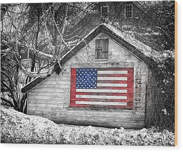 Patriotic American Shed Wood Print