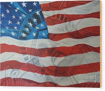 Patriotic Wood Print by Michelley Fletcher