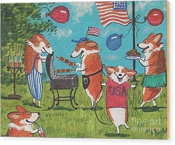 Patriotic Pups Wood Print by Margaryta Yermolayeva