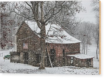 Patriotic Tobacco Barn Wood Print by Debbie Green