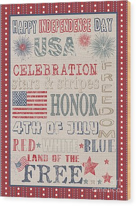 Patriotic Typography-b Wood Print by Jean Plout