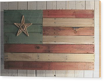 Patriotic Wood Flag Wood Print by John Turek