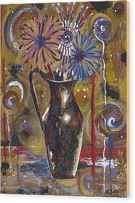 Wood Print featuring the painting Patriotism Blooms by Margaret Bobb