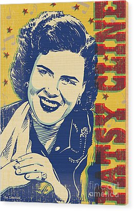 Patsy Cline Pop Art Wood Print