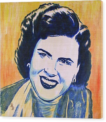 Patsy Cline Pop Art Painting Wood Print by Bob Baker