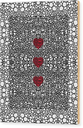 Pattern 34 - Heart Art - Black And White Exquisite Patterns By Sharon Cummings Wood Print by Sharon Cummings