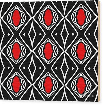 Pattern Geometric Black White Red Art No.391. Wood Print by Drinka Mercep