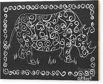 Patterned Rhino Wood Print by Caroline Street