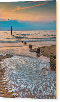 Patterns On The Beach  Wood Print by Adrian Evans