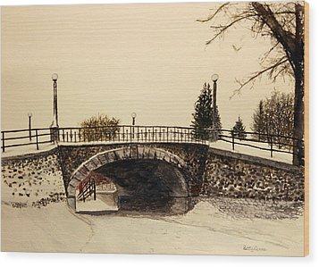 Patterson Creek Bridge In Winter Wood Print by Betty-Anne McDonald