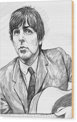 Paul Mccartney Art Drawing Sketch Portrait Wood Print by Kim Wang