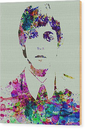 Paul Mccartney Watercolor Wood Print by Naxart Studio