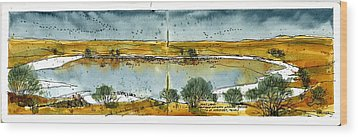 Wood Print featuring the mixed media Paul's Lake by Tim Oliver