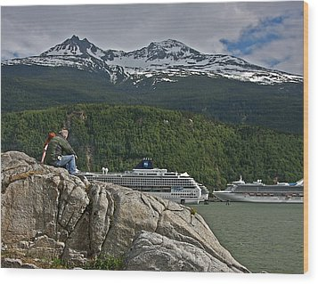 Pause In Wonder At Cruise Ships In Alaska Wood Print by John Haldane