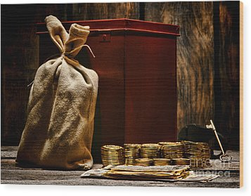 Pay Day Wood Print by Olivier Le Queinec