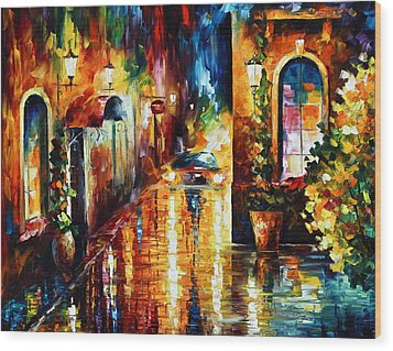 Paying A Visit New Wood Print by Leonid Afremov