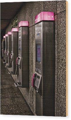 Payphones? Wood Print by Anthony Citro