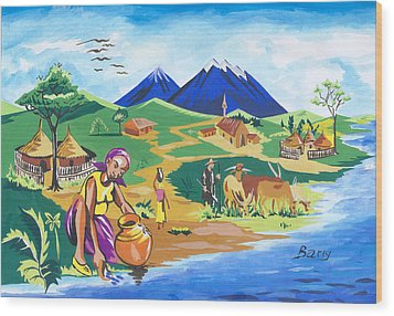 Wood Print featuring the painting Paysage Du Nord Du Rwanda by Emmanuel Baliyanga