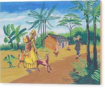 Wood Print featuring the painting Paysage Du Sud Du Cameroon by Emmanuel Baliyanga