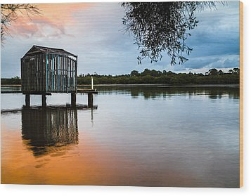 Peace At Pete's Jetty Wood Print by Peta Thames