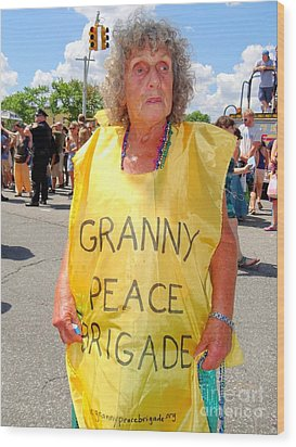 Wood Print featuring the photograph Peace Granny by Ed Weidman
