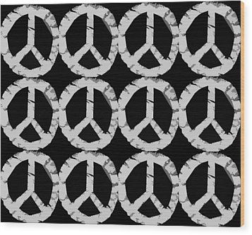 Peace In Black And White Wood Print by Michelle Calkins