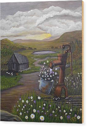 Wood Print featuring the painting Peace In The Valley by Sheri Keith