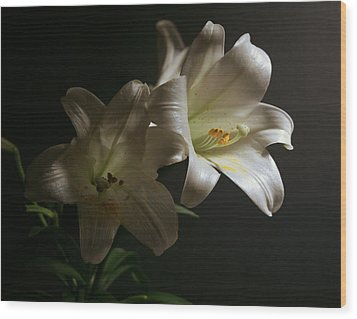 Wood Print featuring the photograph Peace Lily by Cathy Harper