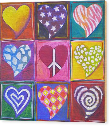 Peace Love And Heart Art Wood Print