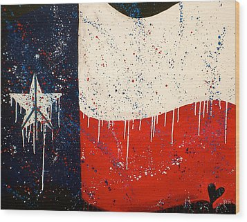 Peace Love And Texas Wood Print by Debi Starr