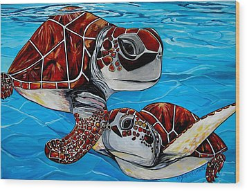 Peace Love And Turtles Wood Print by Patti Schermerhorn