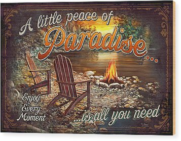 Wood Print featuring the painting Peace Of Paradise by JQ Licensing